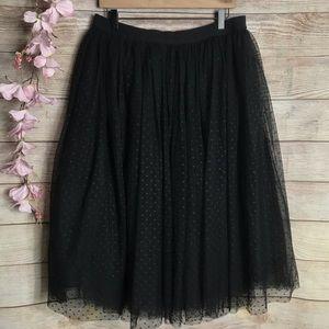 Ann Taylor Black Tulle Mini Polkadot Skirt